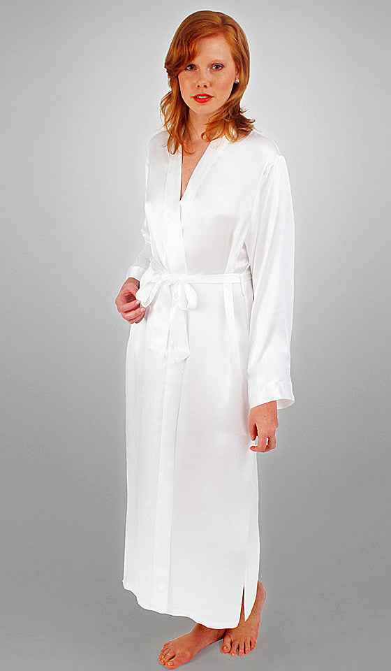 Women's Long White Silk Charmeuse Robe by Linda Hartman