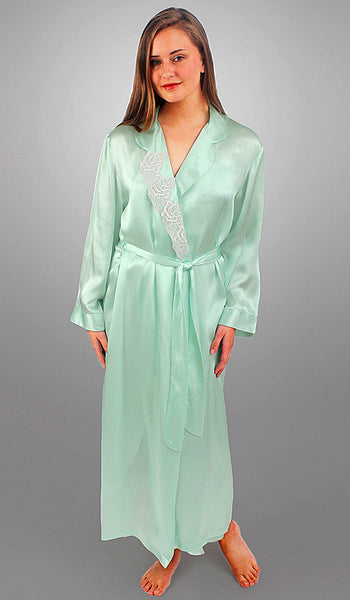 Women's Desiree Silk Charmeuse Robe w/Embroidered Appliqué in Aqua by Linda Hartman
