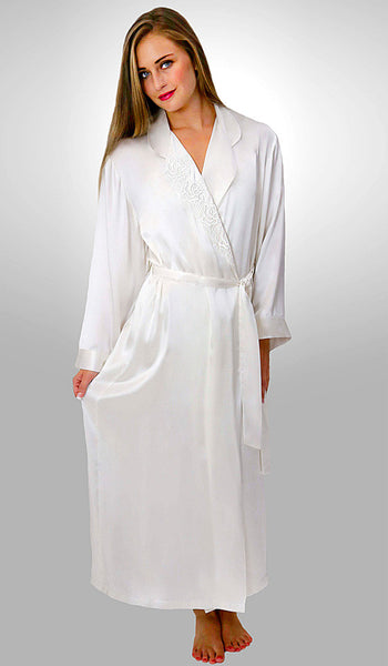 Women's Desiree Silk Charmeuse Robe w/Embroidered Appliqué in White by Linda Hartman