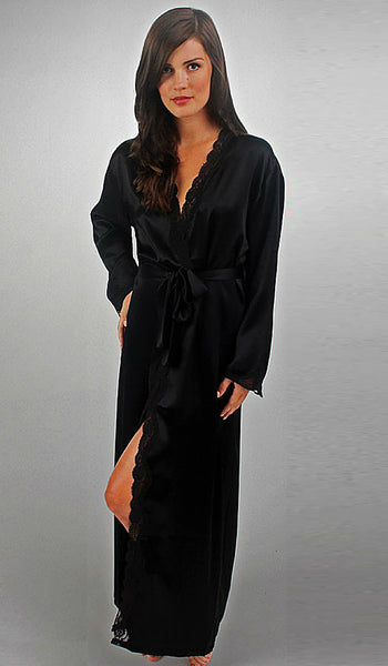 Women's Black Silk Charmeuse Long Robe with Lace Trim by Linda Hartman