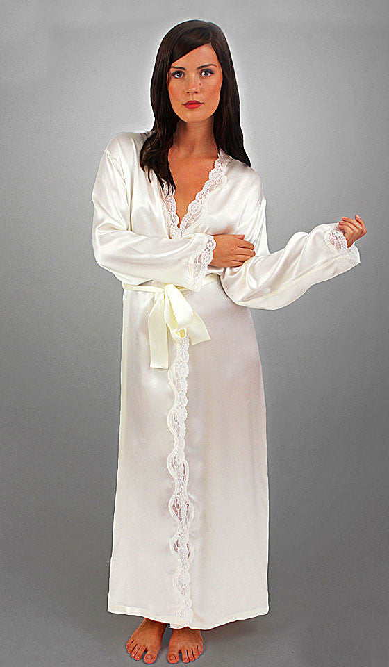 Women's Porcelain Silk Charmeuse Long Robe with Lace Trim by Linda Hartman