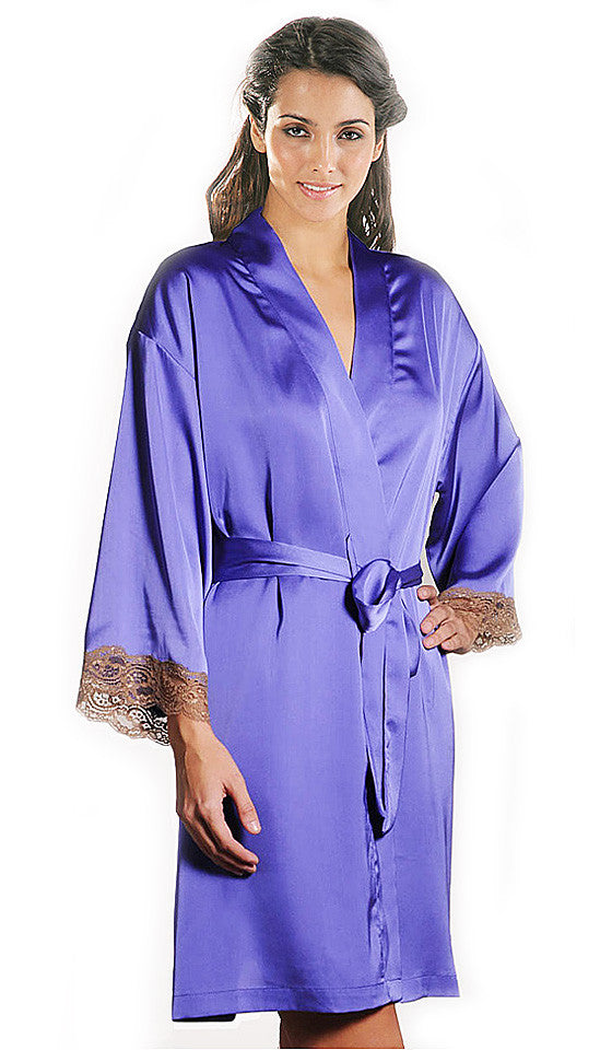 Women's Robe - Violet Lace-Trimmed Satin Charmeuse by Mystique Intimates