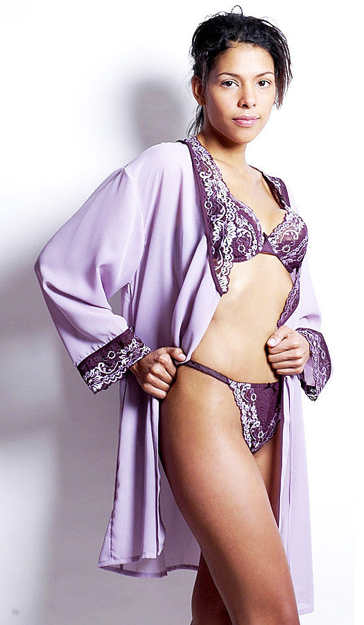 Women's Robe - Lilac/Purple Short Sheer Georgette w/Cross-Dyed Lace