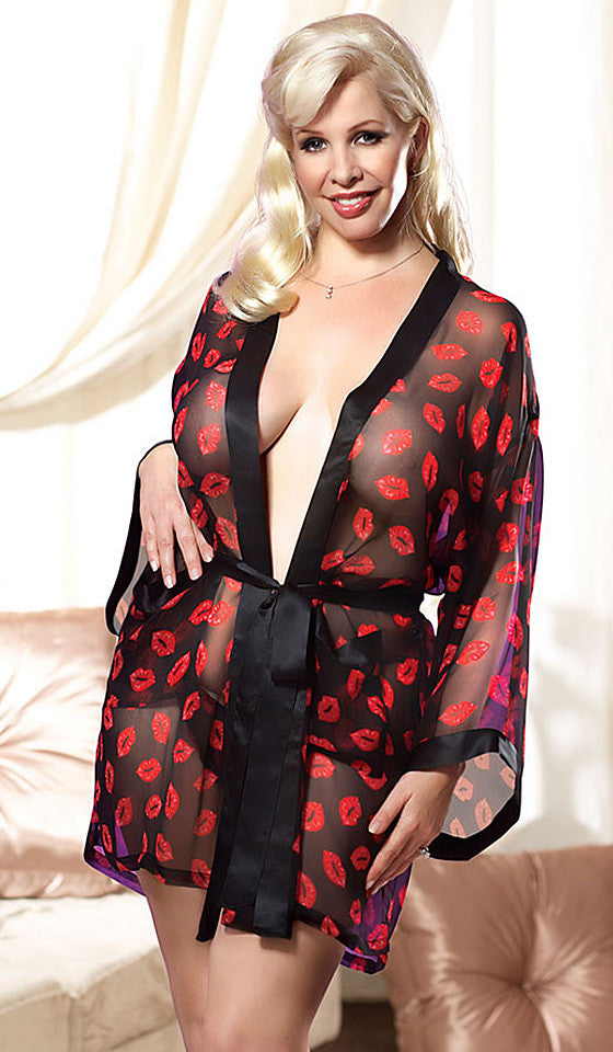 "Women's Plus Size Kimono Robe - Black Silk Chiffon ""Red Lips"" Print by Magic Silk"