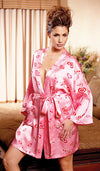 "Women's Plus Size Robe - Silk Charmeuse Hearts & ""Love"" Print Kimono by Magic Silk"