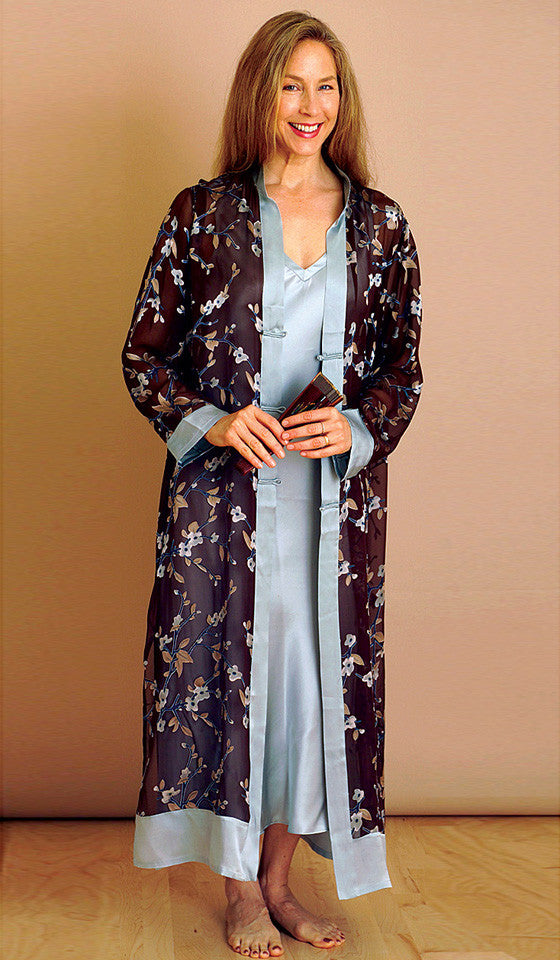 Women's Robe - Chocolate Print Sheer Silk Georgette Burnout Cerise Robe