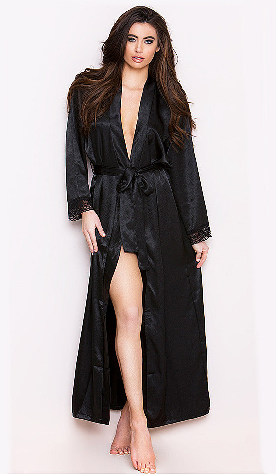 Women's black satin charmeuse long robe with lace trim and tie-belt
