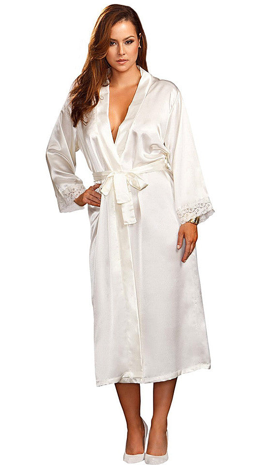 Women's Robe - White Bridal Lace-Trimmed by iCollection