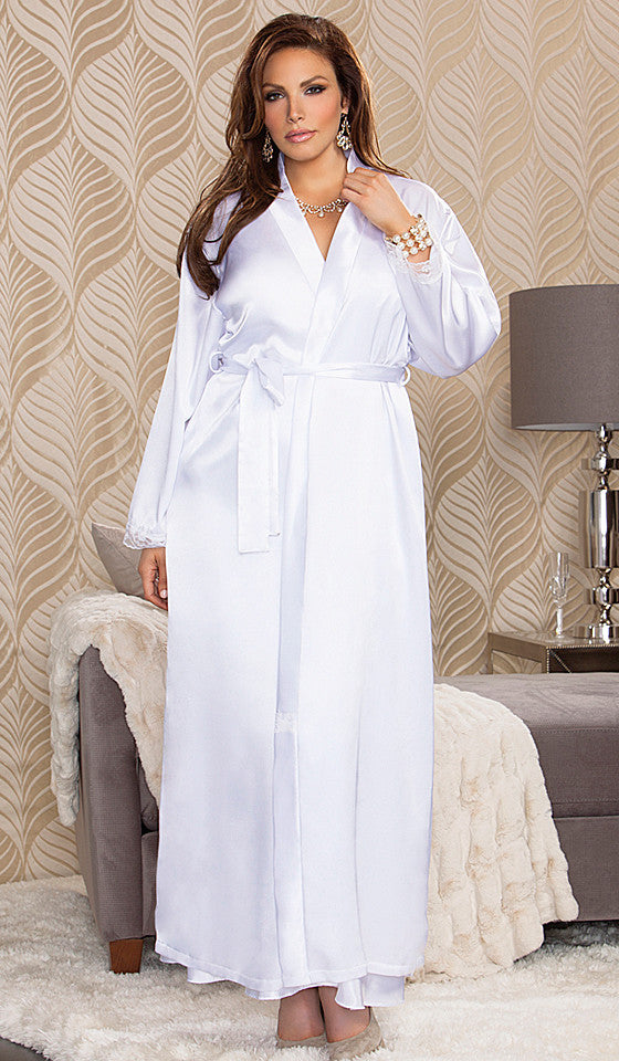 83be6d4eb0 ... Women s Plus Size Robe - White Bridal Lace-Trimmed by iCollection -  view ...