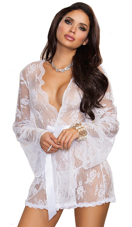 a10cdaf0db518 Women's Short Bridal Scalloped Lace Kimono Robe by iCollection ...