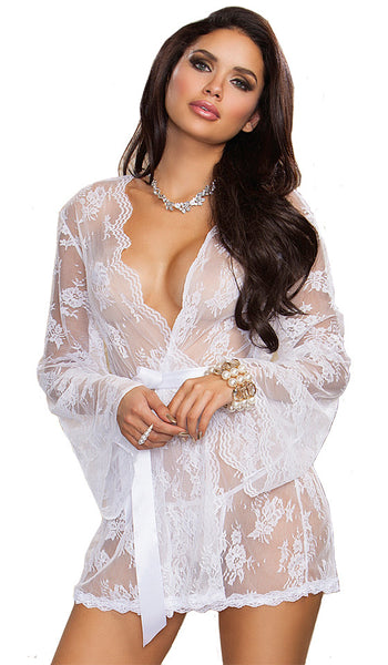 Women's Short Bridal Scalloped Lace Kimono Robe by iCollection