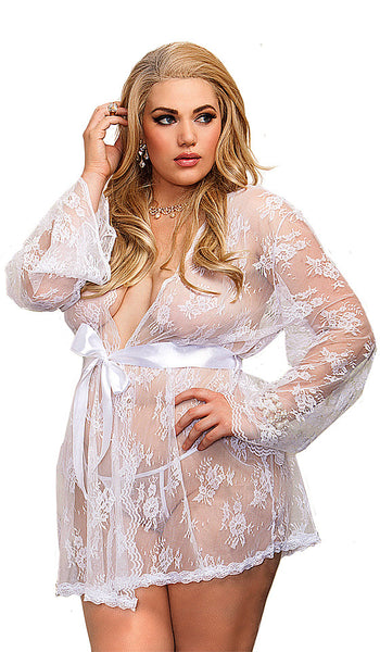 Women's Short Bridal Scalloped Lace Kimono Robe by iCollection - view 2