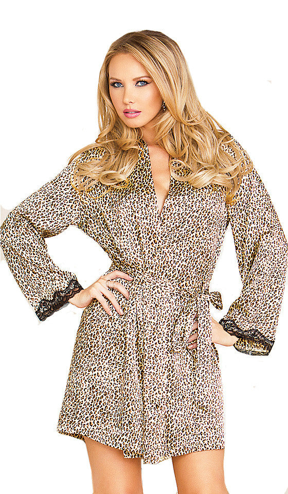 8331605212 ... Women s Robe - Leopard Print Satin Charmeuse - by iCollection ...