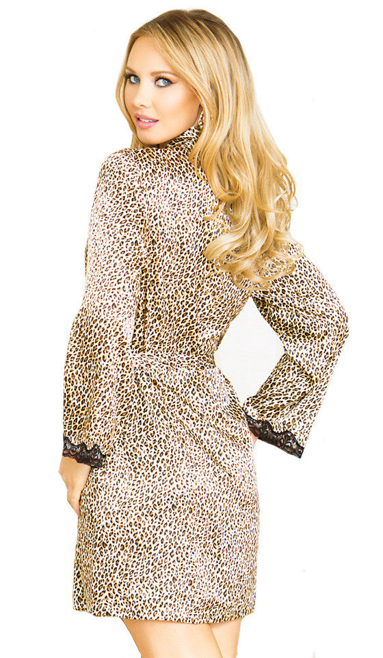 Women's Robe - Leopard Print Satin Charmeuse - by iCollection