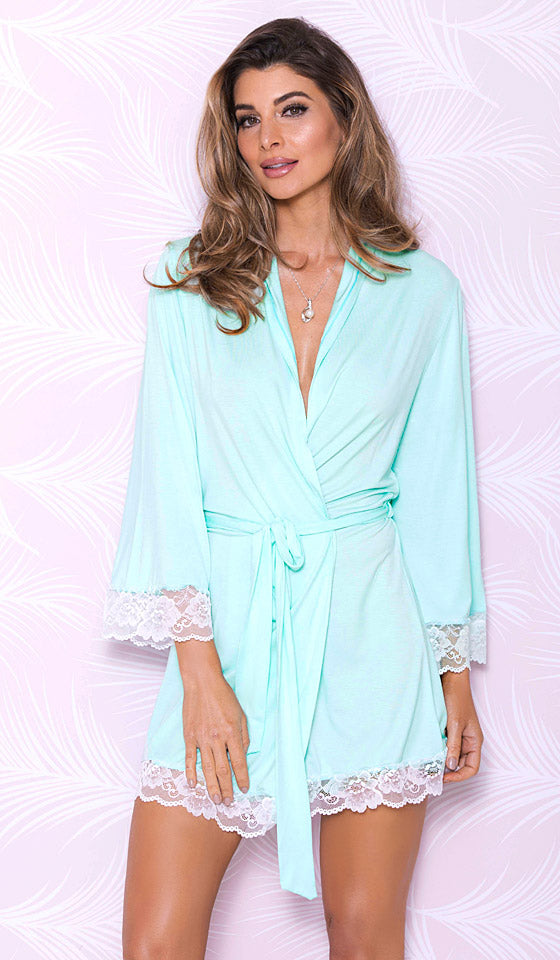 Women's short aqua blue stretch knit robe with lace trim