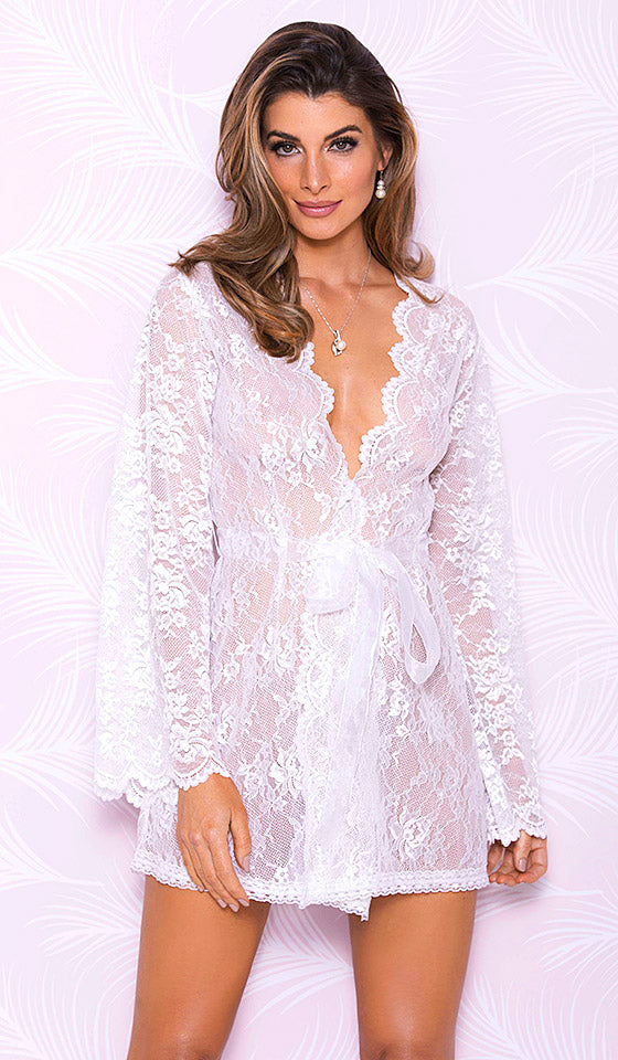 5eee70c7f7 Women s Bridal Short White Lace Robe with Scallop Neckline (Small-XL) by  iCollection ...