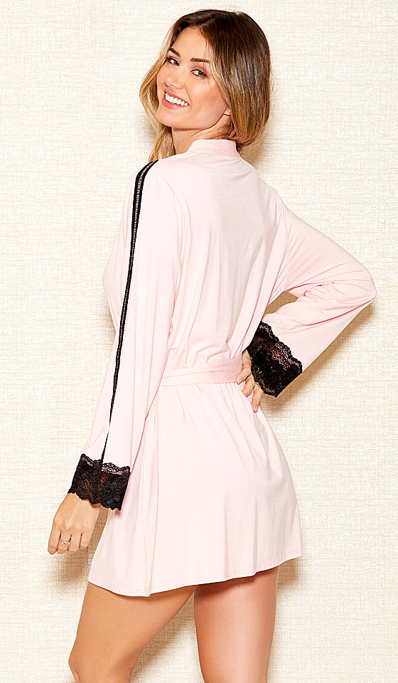 Women's Pink Stretch Knit Short Robe w/Black Lace Trim (Matching Chemise available)
