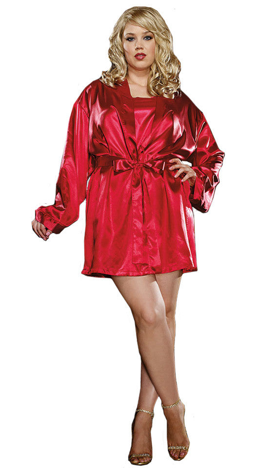 WOMEN'S Robe - Red Satin & Heart Lace 3-Pc. Short Kimono Set by Dreamgirl