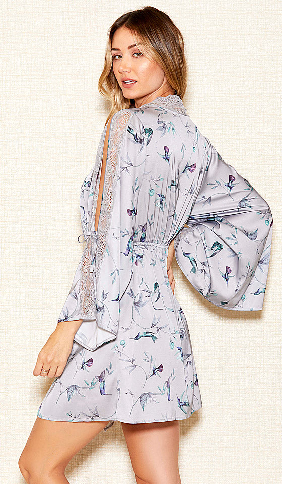 d2c5da3062d Satin Charmeuse Floral Print Short Robe (Matching Babydoll available) (Small -3X)