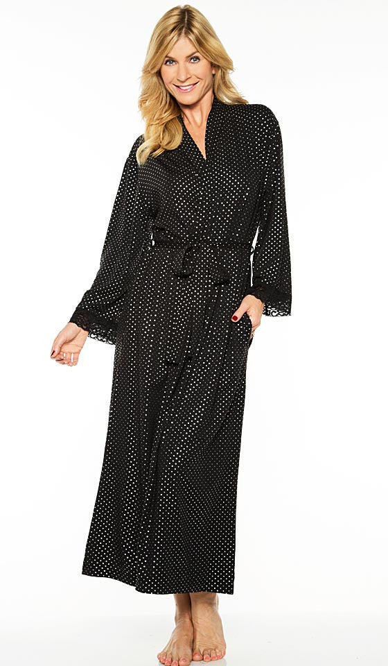 Women's Robe - Elegant Black Printed Pin-Dot by Rhonda Shear