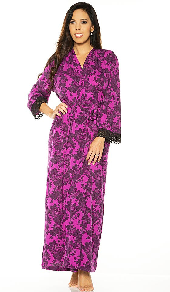 Women's Robe - Stretch Magenta Black Lace Print by Rhonda Shear