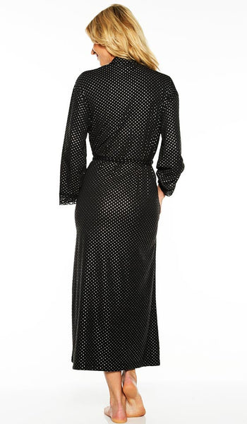 Women's Robe - Elegant Black Printed Pin-Dot by Rhonda Shear - back view