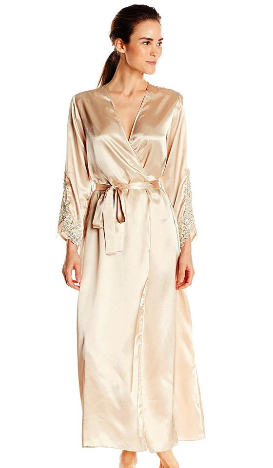 Women's Stella Charmeuse Venice Lace Robe in Almond by Flora Nikrooz