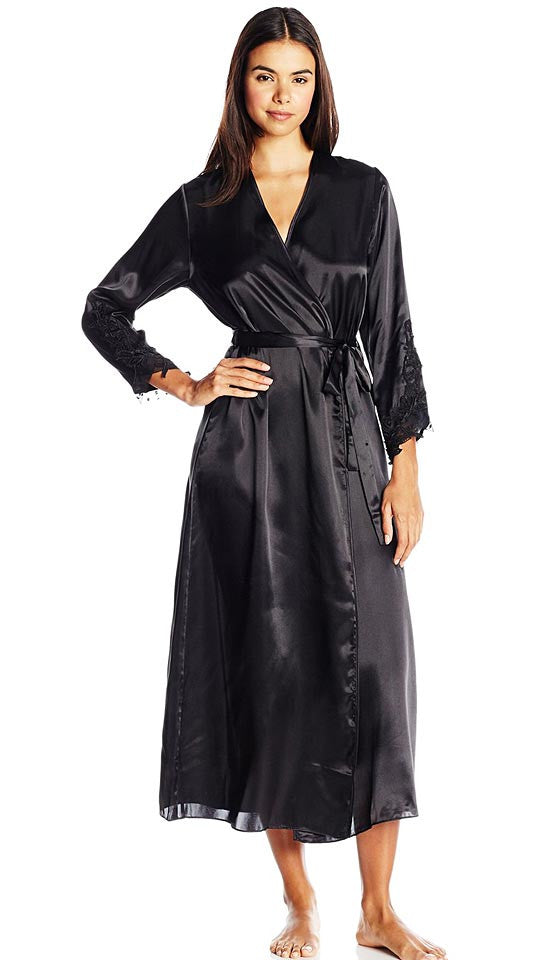 Women's Stella Charmeuse Venice Lace Robe in Black by Flora Nikrooz
