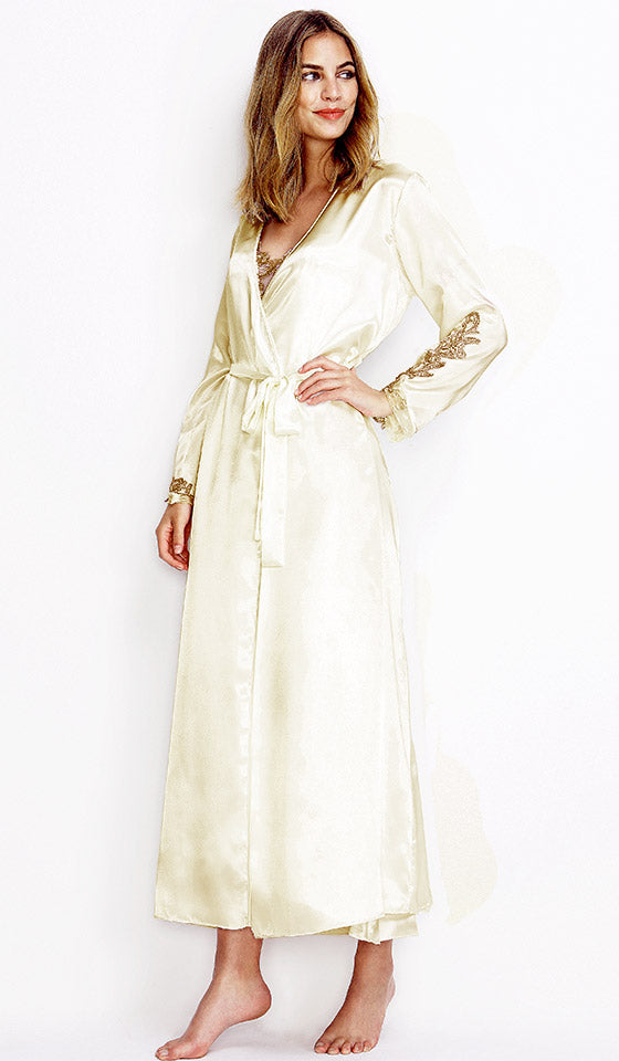 0fb04b85424 Women s Ivory White Long Bridal Robe with Lace Appliqué