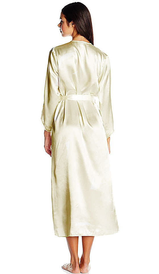 "Women's Ivory White Long Bridal Robe with Lace Appliqué ""Stella"" by Flora Nikrooz"