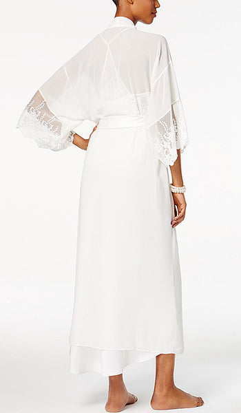 Women's Farrah Charmeuse & Lace Bridal Robe by Flora NiKrooz - back view