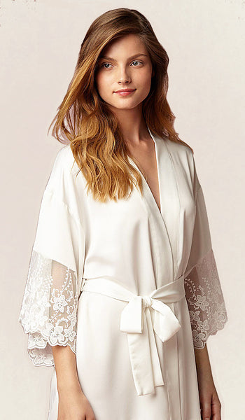 Women's Farrah Charmeuse & Lace Bridal Robe by Flora NiKrooz