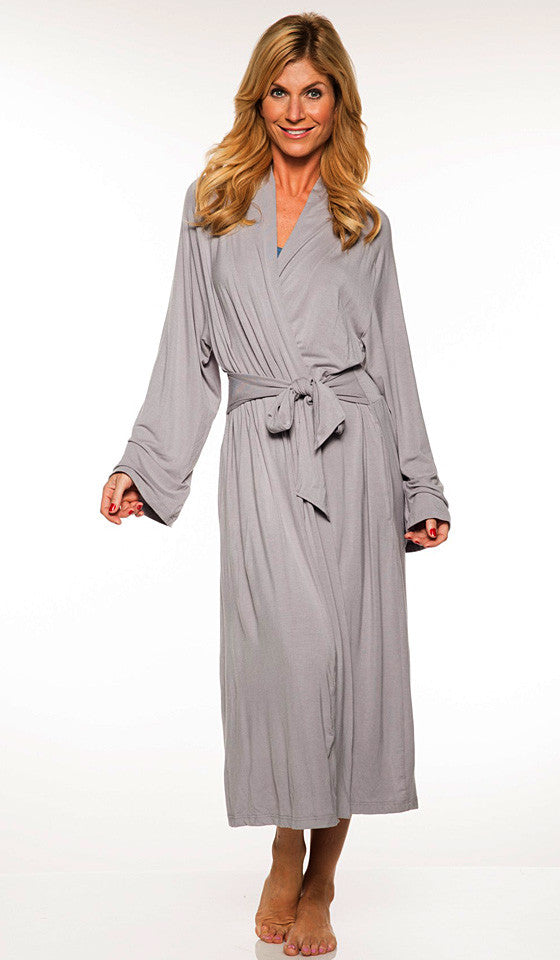 Women' Robe - Long Platinum Gray Bamboo Knit Wrap w/Attached Belt Tie by Rhonda Shear