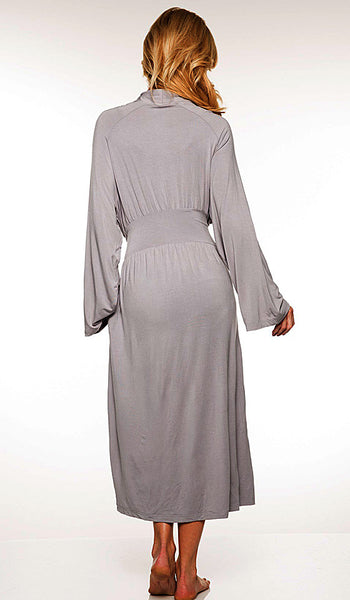 Women' Robe - Long Platinum Gray Bamboo Knit Wrap w/Attached Belt Tie by Rhonda Shear - back view