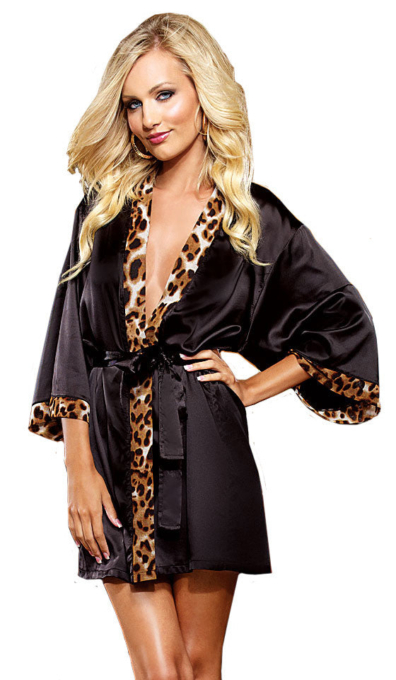 Women's Robe - Black Short Satin Charmeuse w/Leopard Heart Insert by Dreamgirl
