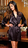 Robe - Black Satin Charmeuse w/Lace Inset by Dreamgirl