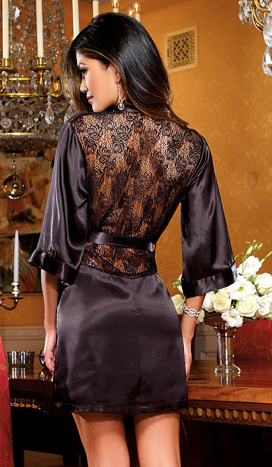 Robe - Black Satin Charmeuse w/Lace Inset by Dreamgirl - back view
