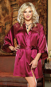 Robe - Raspberry Satin Charmeuse w/Lace Inset by Dreamgirl view 2