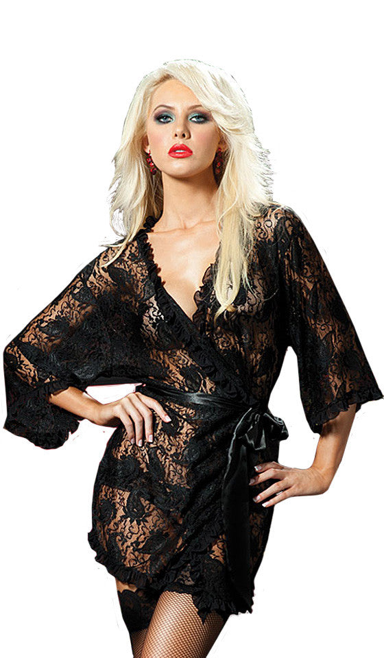 Women's Robe - Sheer Black Short Paisley Lace Robe w/Satin Tie Belt