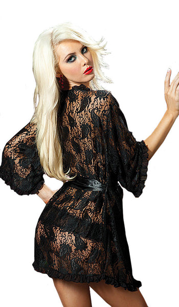 Women's Robe - Sheer Black Short Paisley Lace Robe w/Satin Tie Belt - back view
