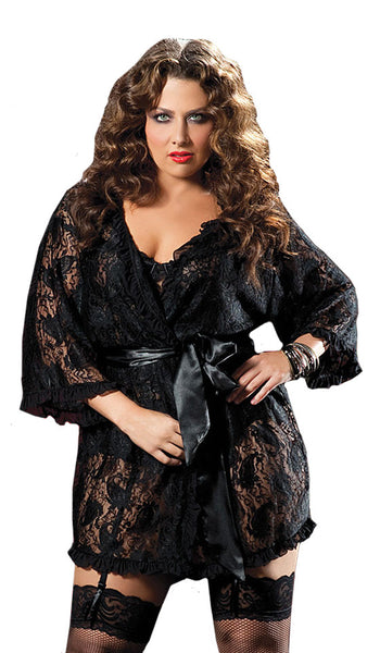 Women's Robe - Sheer Black Short Paisley Lace Robe w/Satin Tie Belt - view 2