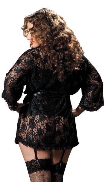 Women's Robe - Sheer Black Short Paisley Lace Robe w/Satin Tie Belt - back view 2