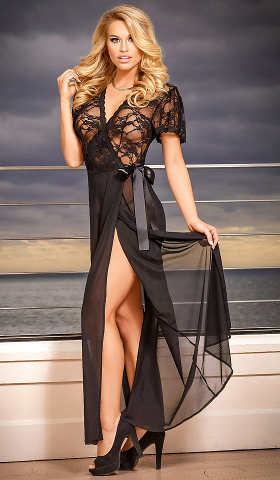 Women's Nightgown/Robe - Black Widow Chiffon & Lace w/Side Tie