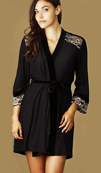 "Women's Chemise - ""Geneva"" Short Black Knit Velvet & Gold Lace by Jonquil"