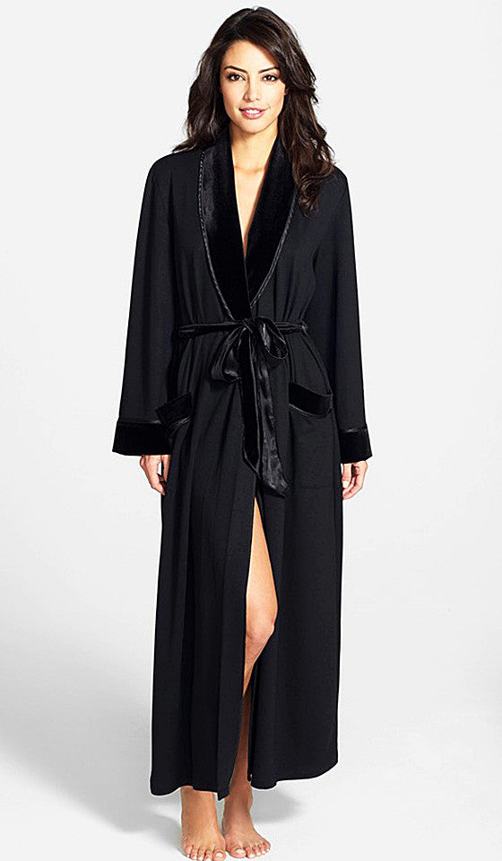 Women's Robe - Luxurious Black French Terry/Velvet by In-Bloom by Jonquil
