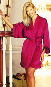 Women's Robe - Cherry Silk Charmeuse Short Kimono