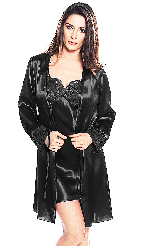 Women's Robe - Black Silk Charmeuse Chemise & Robe w/Lace Overlay Cups by Shirley McCoy
