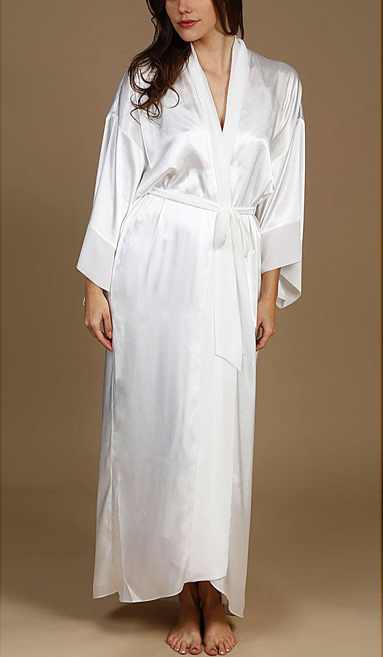 Women's Sabrina Ivory Hi-Low Satin Kimono Long Robe by Jonquil
