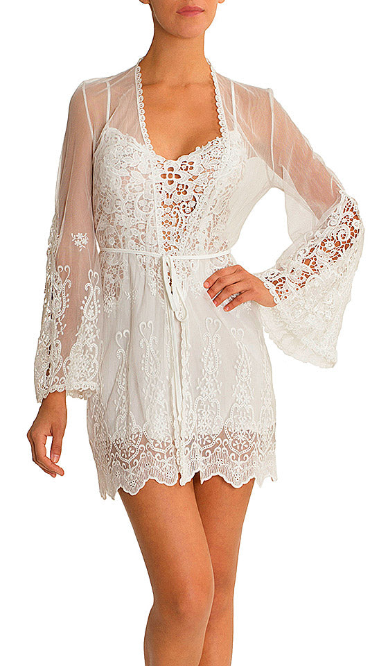 Vintage Short Ivory Bridal Crochet Wrap/Robe (XS-Large)