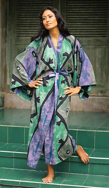"Women's Robe - Rayon Batik Kimono - ""Seaside Blue"" Design"